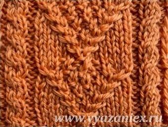 Плетеная галочка с путанкой - лицевая сторона
