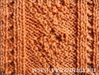 Плетеная галочка с путанкой - изнаночная сторона